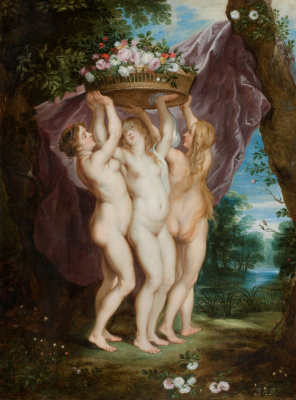 Jan Brueghel the Younger. Three graces with a basket of flowers