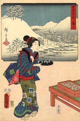 Хиросигэ Кунисада. Подготовка к чайной церемонии