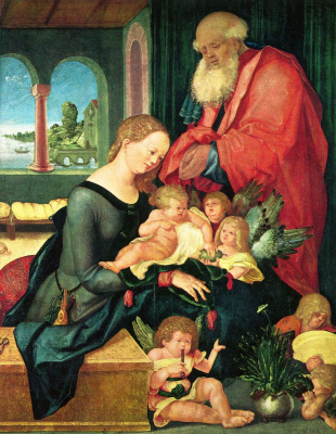 Ханс Бальдунг. Святое семейство в комнате с пятью ангелами