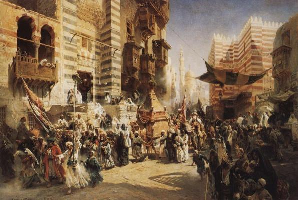 Konstantin Makovsky. The transfer of the sacred carpet in Cairo