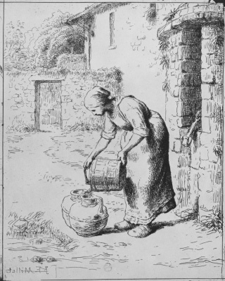 Jean-François Millet. Woman pouring water from a bucket