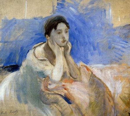 Берта Моризо. Молодая женщина, опирающаяся на локти