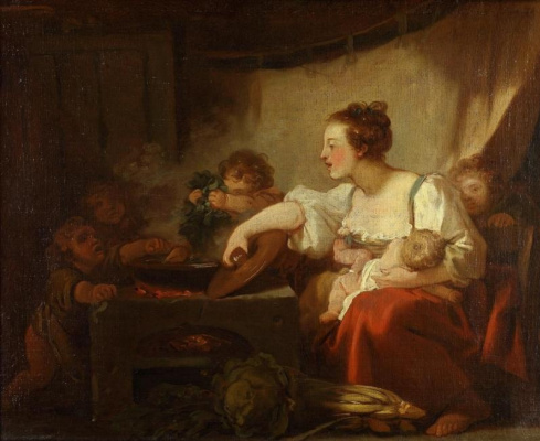 Jean Honore Fragonard. Cooking dinner