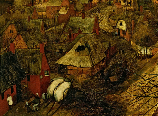 "Pieter Bruegel The Elder. Dark day. Cycle ""Seasons"". February and early spring. Fragment 2. Houses in the village"