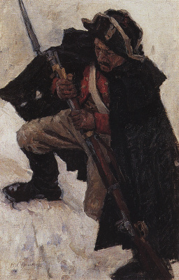 "Vasily Ivanovich Surikov. Soldier with a gun. A sketch for the painting ""Suvorov crossing the Alps"""