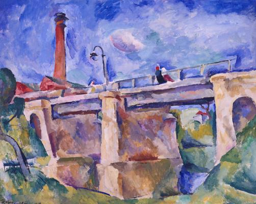 Petr Petrovich Konchalovsky. Bridge in Nara. The wind