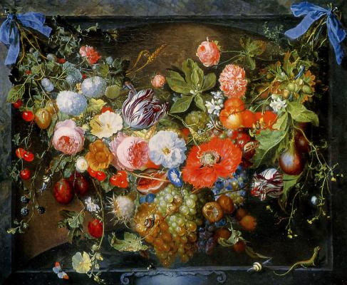 Ян Давидс де Хем. Цветочный натюрморт (Гирлянда)