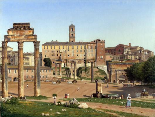 Christopher Wilhelm Eckersberg. Overlooking the forum in Rome
