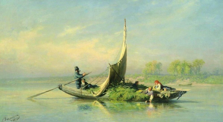 Fedor Alexandrovich Vasilyev. Peasant family in a boat