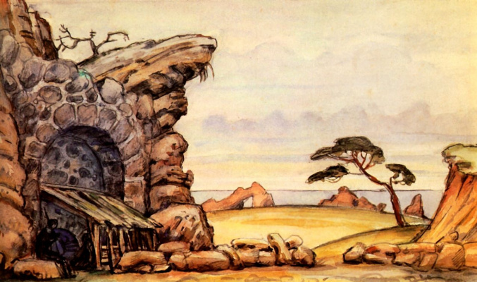 "Mstislav Valerianovich Dobuzhinsky. Hut Gaetan. A sketch of the scenery for the play by Alexander Blok's ""the rose and the Cross"""
