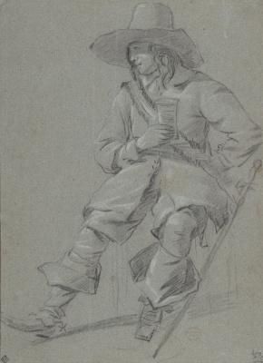 Gabrielle Metsu. Seated cavalier