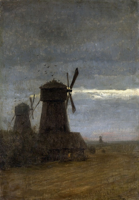 Isaac Levitan. Windmills. Late twilight