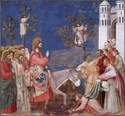 Giotto di Bondone. The entrance of the Lord to Jerusalem. Scenes from the life of Christ