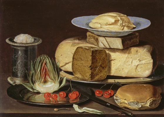 Clara Peeters. Still life with cheeses, artichokes and cherries