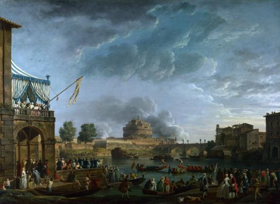 Клод Жозеф Верне. Спортивный конкурс на Тибре в Риме