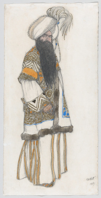 "Lev Samoilovich Bakst (Leon Bakst). Sultan. Costume design for the ballet ""Scheherazade"""