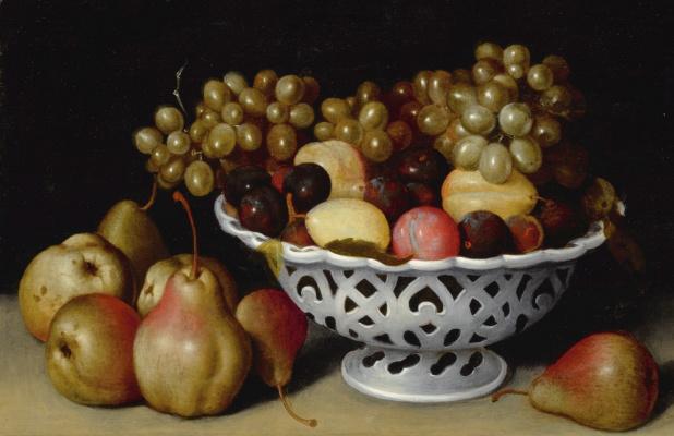 Феде Галиция. Натюрморт с фарфоровой чашей, виноградом, сливами и грушами