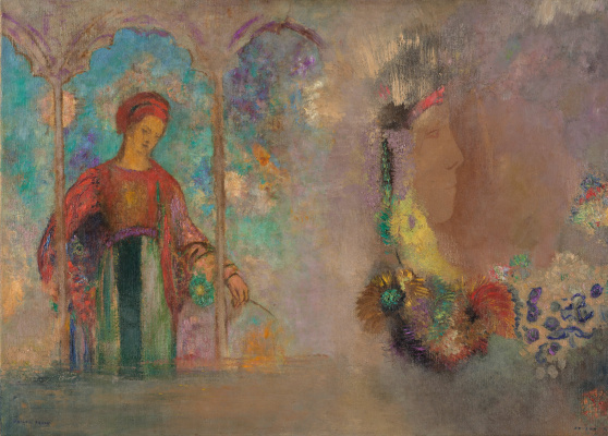 Odilon Redon. Woman in a gothic arcade (Woman with flowers)