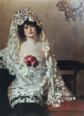 Ramon Casas i Carbó. Julia in the white mantilla