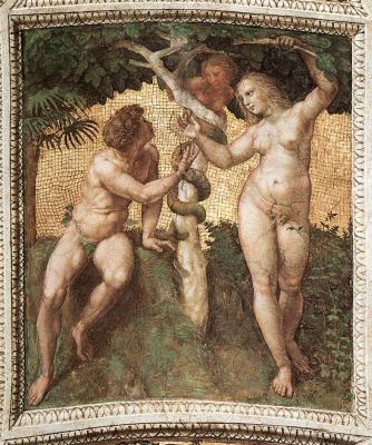 Raphael Sanzio. Adam and eve. The stanza della senyatura in the Vatican