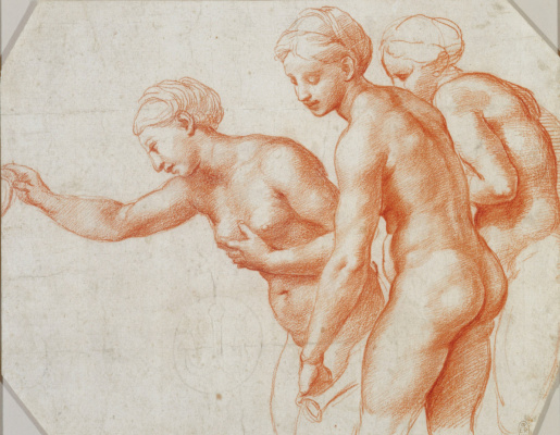 Raphael Santi. Study for the frescoes of the Loggia of psyche. The Three Graces