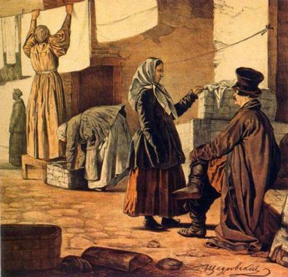 """Игнатий Степанович Щедровский. Прачки. Лист из альбома. """"Вот наши!"""" 1846"""