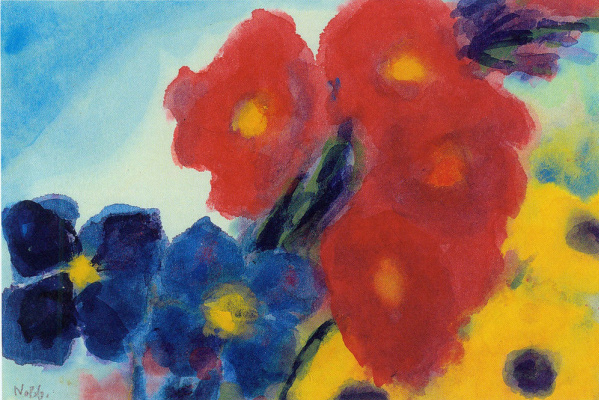 Emil Nolde. Dahlia and blue clematis