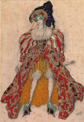 Лев Самойлович Бакст (Леон Бакст). Жена Потифара. Эскиз костюма к балету «Легенда об Иосифе»