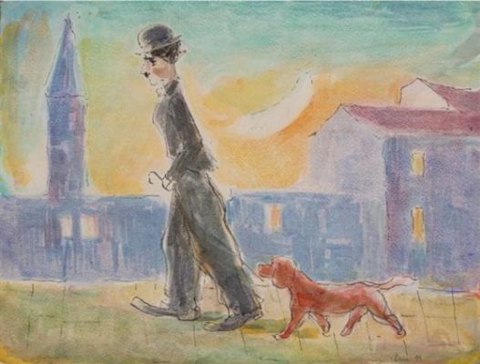Моисей Александрович Фейгин. Чаплин на прогулке с собачкой