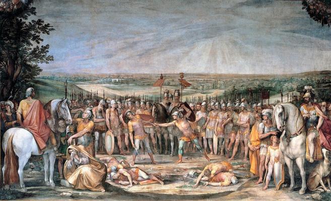 Cesari Giuseppe (Cavalier d'Arpino). Battle Horatii and Curiatii. 1612-1613 mural