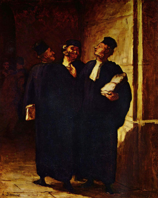 Honore Daumier. Three lawyers in conversation