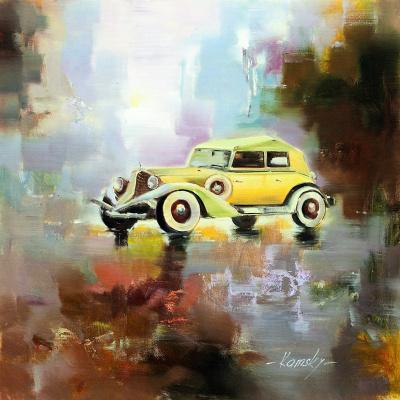 Savely Kamsky. Retro car on city background N4