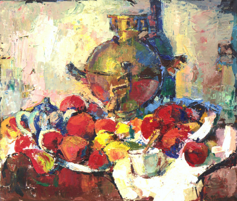 Dmitry Gennadyevich Popov. Still life with a samovar