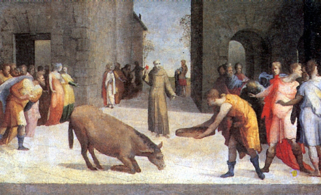 Domenico Beccafumi. Saint Anthony and the miracle of the mule