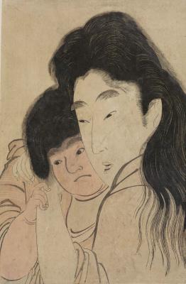 Kitagawa Utamaro. Yamauba hugs Kintaro