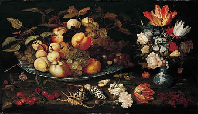 Балтазар ван дер Аст. Натюрморт с фруктами на блюде и цветами в вазе
