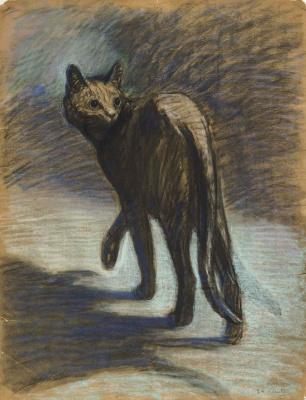 Theophile-Alexander Steinlen. Crouching cat