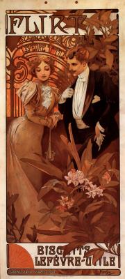 Alphonse Mucha. Advertising cookies Flirt Lefevre