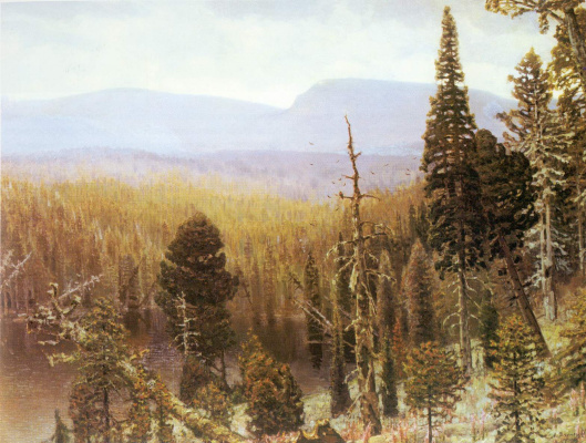 Apollinarius Mikhailovich Vasnetsov. Taiga in the Urals. Blue mountain