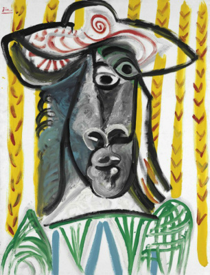 Pablo Picasso. The head of a musketeer