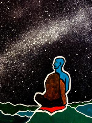 Alexey Mitrov. Buddha under the light of the Milky Way