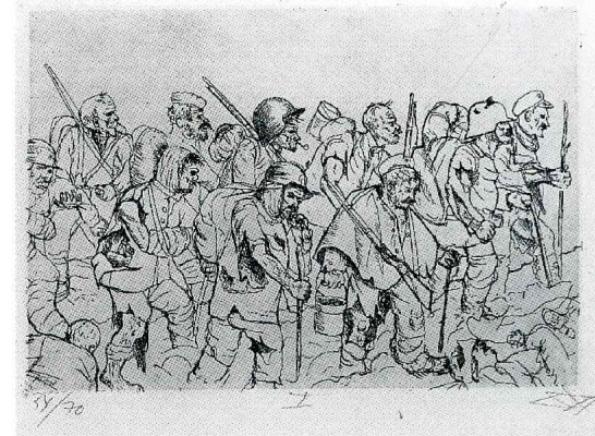 Otto Dix. Battle weary troops retreating