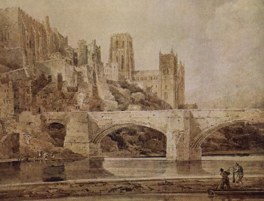 Томас Гиртин. Вид кафедрального собора в Дареме и моста с реки Уир