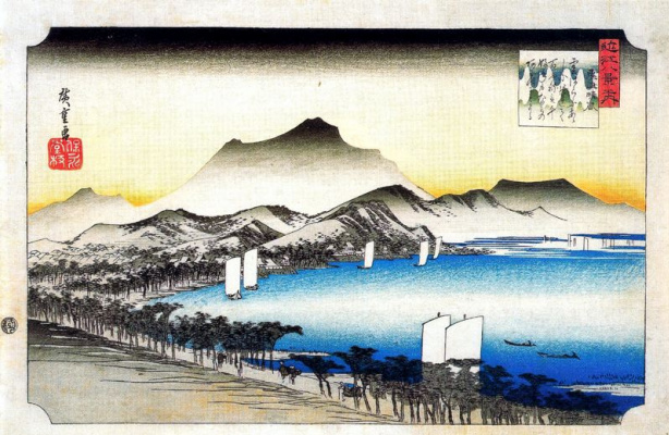 Utagawa Hiroshige. The road along the lake and boats on the water in calm weather