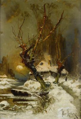 Julius Klever. Sunset in winter