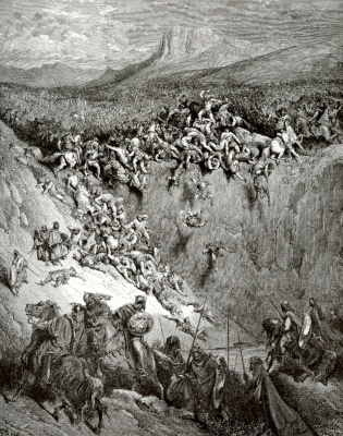 Paul Gustave Dore. Bible illustration: Samson beats a thousand Philistines
