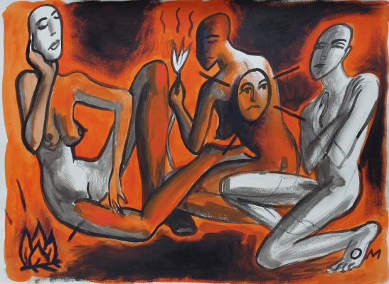 """Олег Мингалев. """"Зангези, 1996, иллюстрация к одноименной поэме Хлебникова"""
