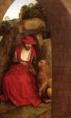Hans Memling. Saint Jerome and the lion