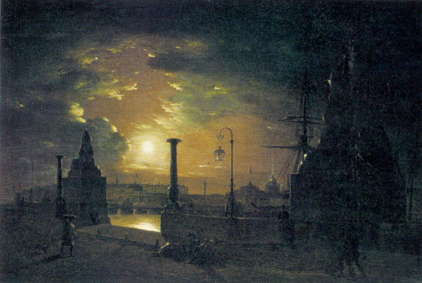 Maxim Nikiforovich Vorobiev. Autumn night in St. Petersburg. Marina with Egyptian sphinxes on the Neva river at night