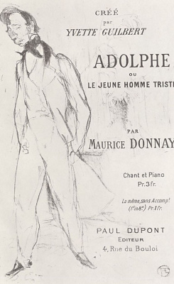 "Henri de Toulouse-Lautrec. Poster ""Adolphe, or the Sad young man"" by Maurice Donna"